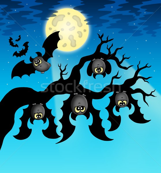 Cartoon bats with full moon Stock photo © clairev