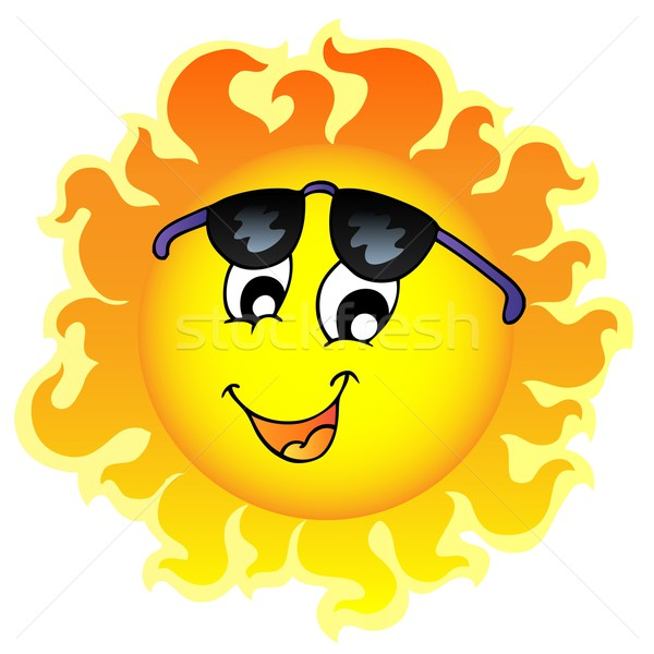 Cute funny Sun with sunglasses Stock photo © clairev