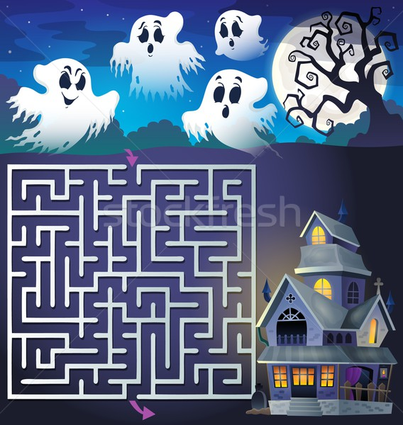 Maze 3 with ghosts and haunted house Stock photo © clairev