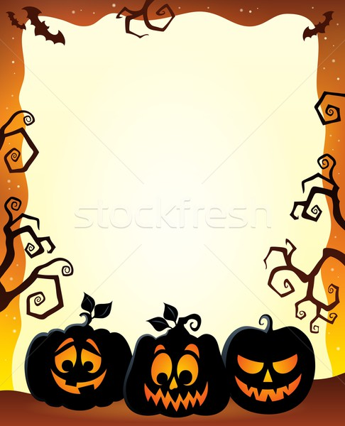 Frame with Halloween pumpkin silhouettes Stock photo © clairev