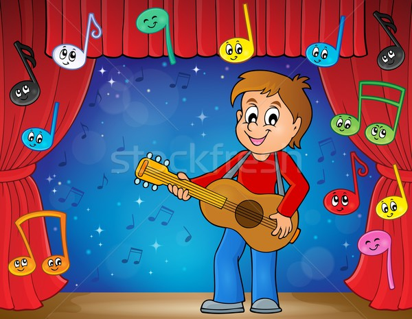 Ragazzo chitarrista fase sorriso chitarra sipario Foto d'archivio © clairev