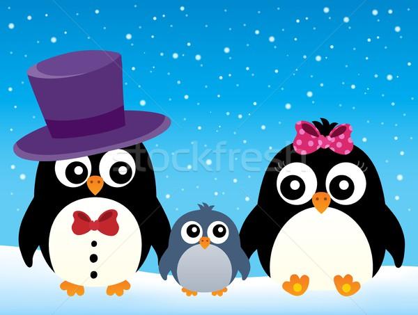 Stilizált pingvin család kép hó művészet Stock fotó © clairev