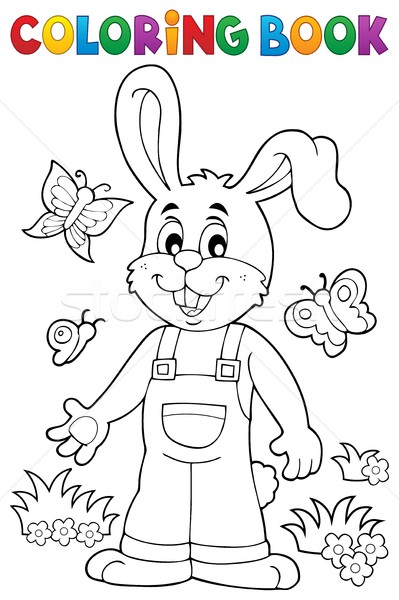 Coloring book Easter rabbit theme 6 Stock photo © clairev