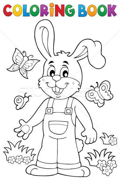 Boyama Kitabı Paskalya Tavşan Kitap Mutlu Boya Vektör