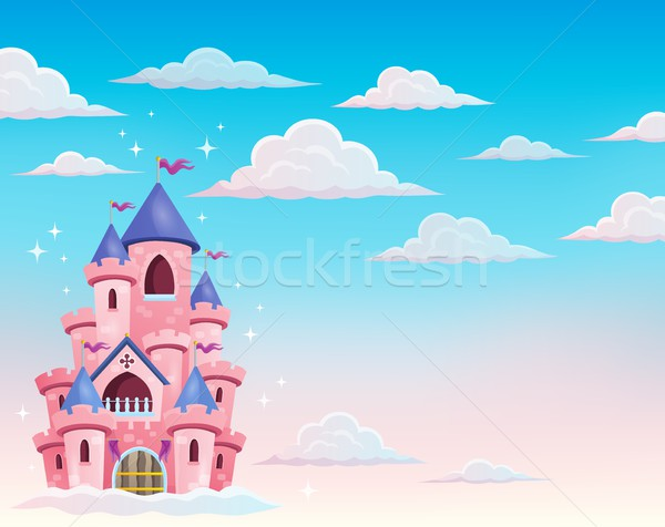Pink castle in clouds theme 1 Stock photo © clairev