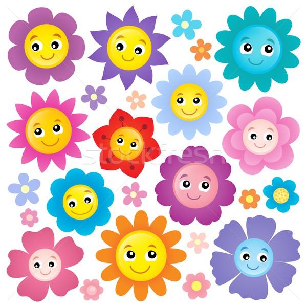 Happy flower heads theme set 1 Stock photo © clairev