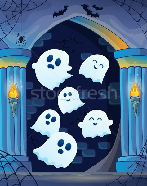 Ghosts in haunted castle theme 4 Stock photo © clairev