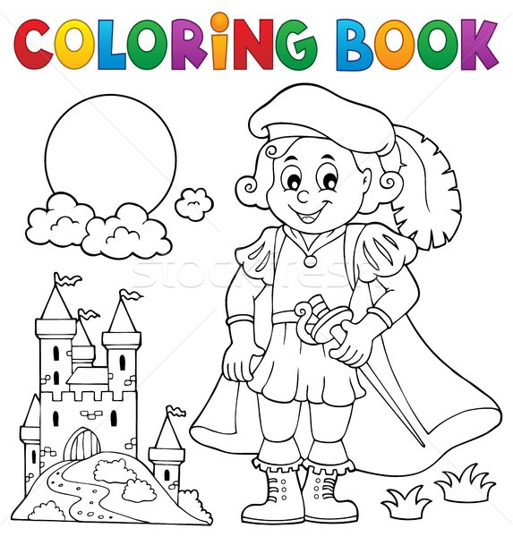 Coloring book prince and castle 1 Stock photo © clairev