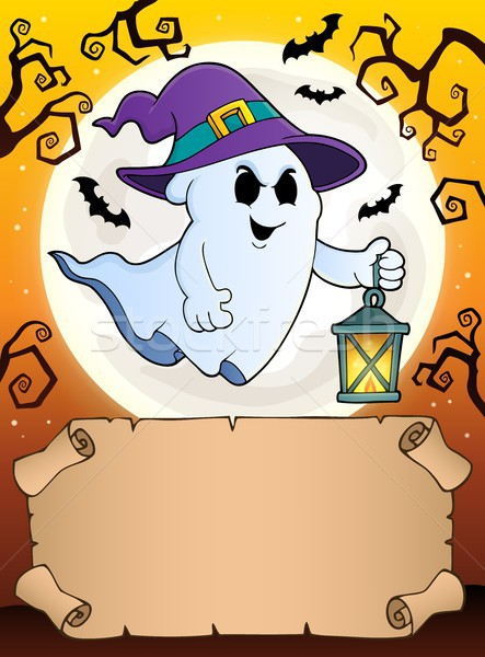 Small parchment and ghost with lantern Stock photo © clairev