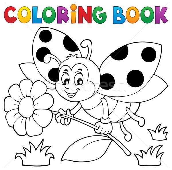 Libro para colorear mariquita flor libro feliz naturaleza Foto stock © clairev