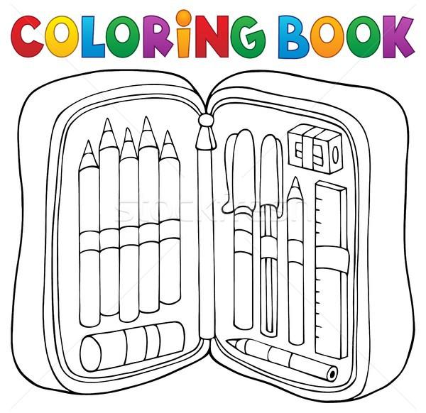 Kifestőkönyv ceruza tok könyv művészet oktatás Stock fotó © clairev