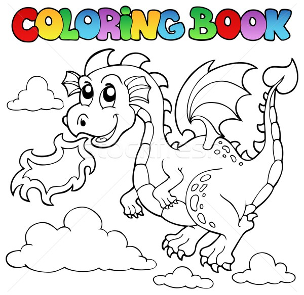 Coloring book dragon theme image 3 Stock photo © clairev