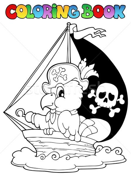 Boyama Kitabı Korsan Papağan Kitap Deniz Boya Vektör