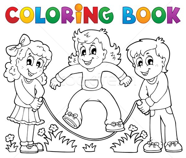 Coloring book kids play theme 1 Stock photo © clairev