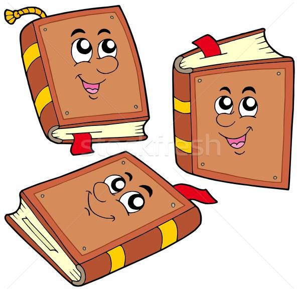 Stok fotoğraf: Karikatür · kitaplar · pozisyonları · kitap · yüz