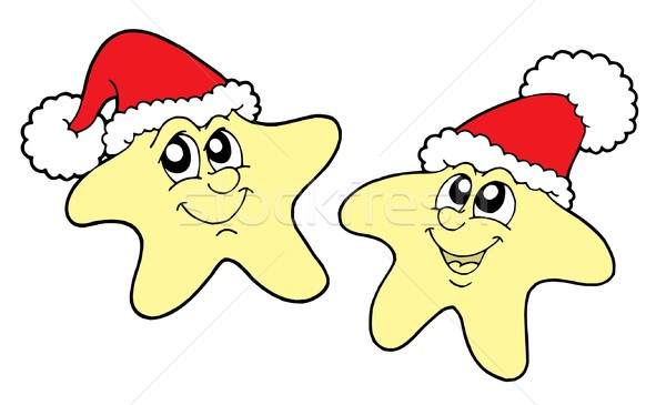 Stars in Christmas caps vector illustration Stock photo © clairev