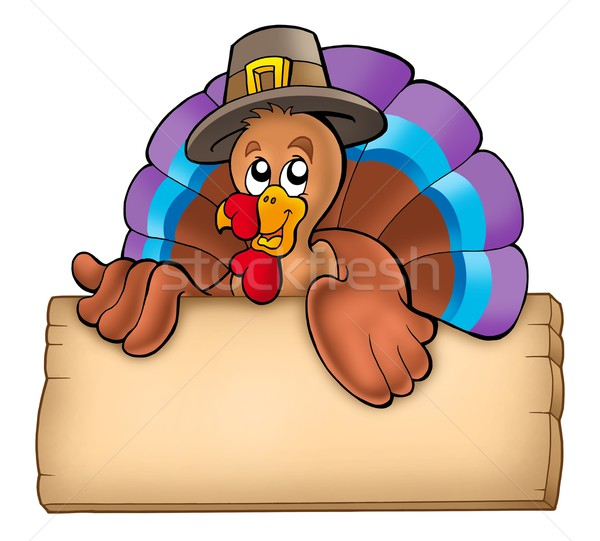 Wooden board with lurking turkey Stock photo © clairev