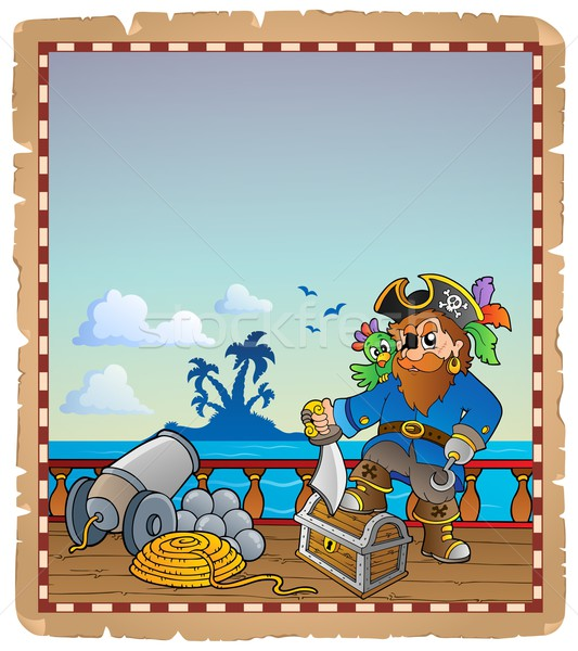 Parchment with pirate ship deck 1 Stock photo © clairev