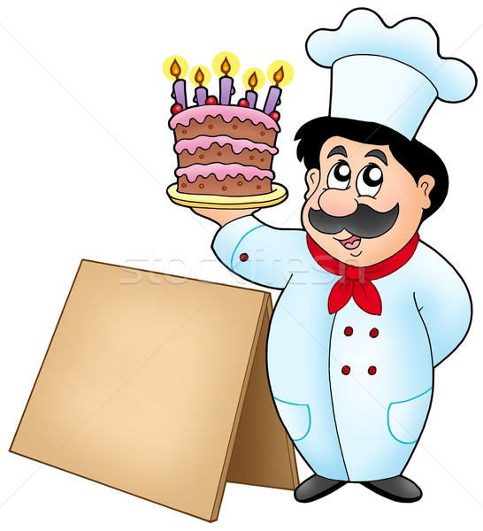 Chef holding cake with wooden table Stock photo © clairev