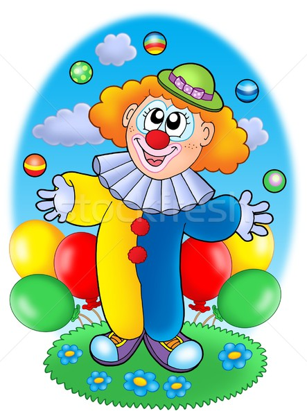 Jonglerie cartoon clown ballons couleur illustration Photo stock © clairev