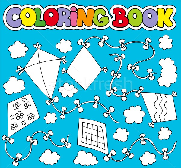 Coloring book with various kites Stock photo © clairev
