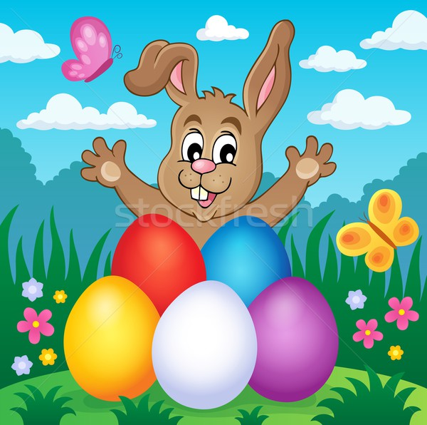 Young bunny with Easter eggs theme 2 Stock photo © clairev
