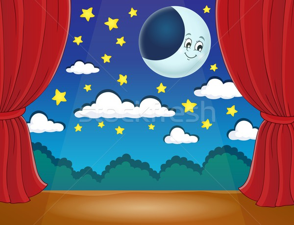 Stage with happy moon Stock photo © clairev