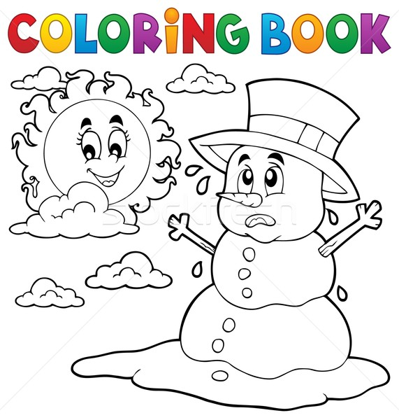 Coloring book melting snowman 1 Stock photo © clairev