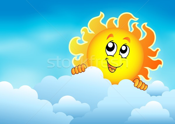 Cloudy sky with lurking sun 2 Stock photo © clairev