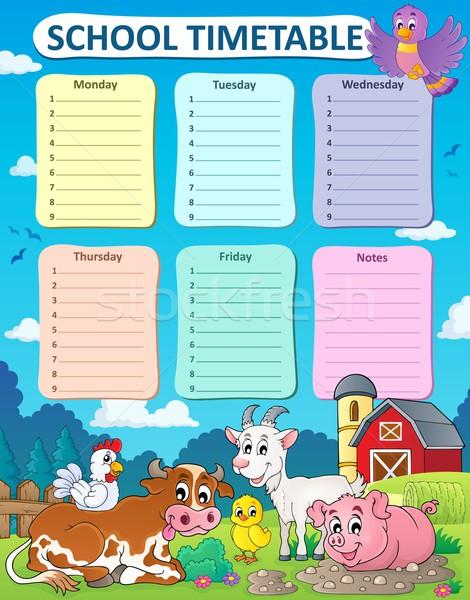 еженедельно школы расписание корова птица таблице Сток-фото © clairev