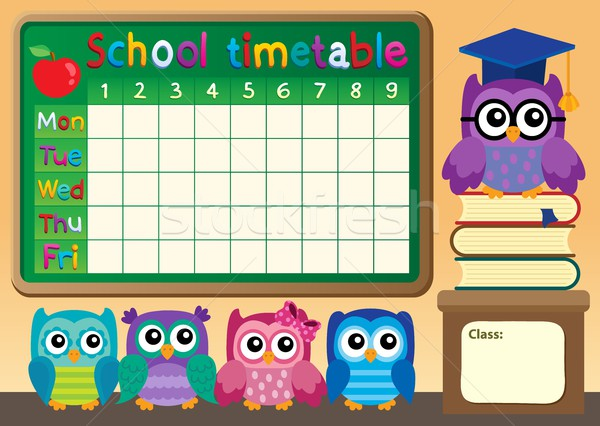 School timetable with owls Stock photo © clairev