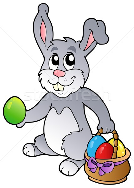 Bunny and Easter eggs Stock photo © clairev