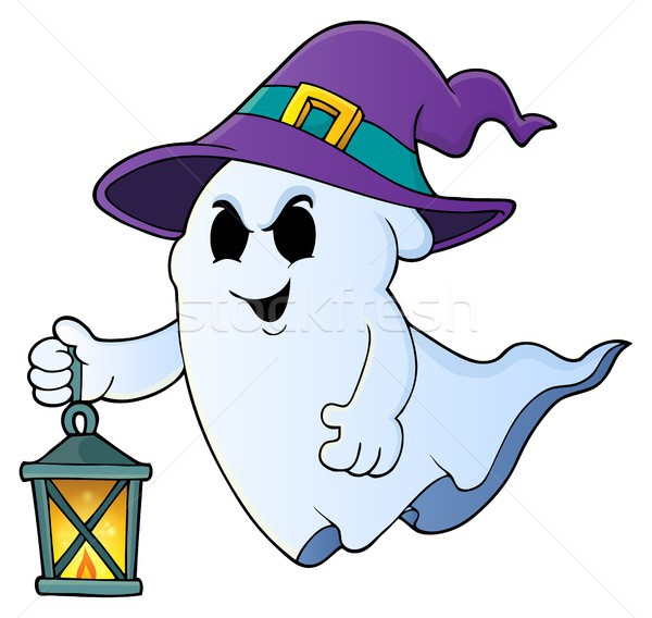 Ghost with hat and lantern theme 1 Stock photo © clairev