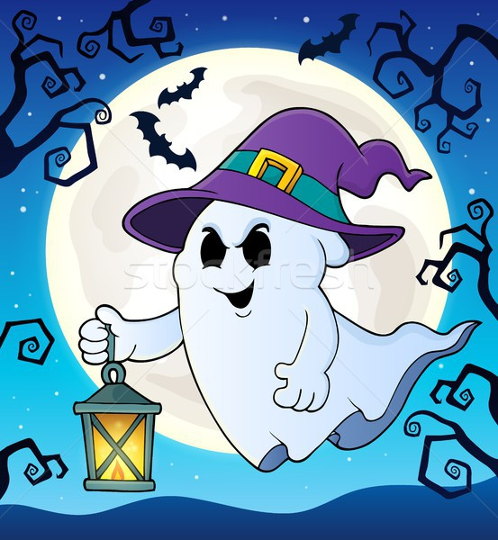 Ghost with hat and lantern theme 2 Stock photo © clairev