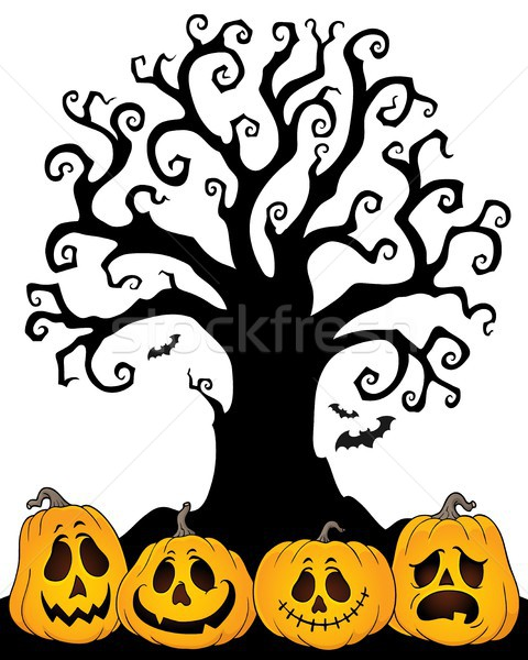 Halloween tree silhouette topic 2 Stock photo © clairev
