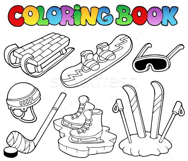 Coloring book winter sports gear Stock photo © clairev