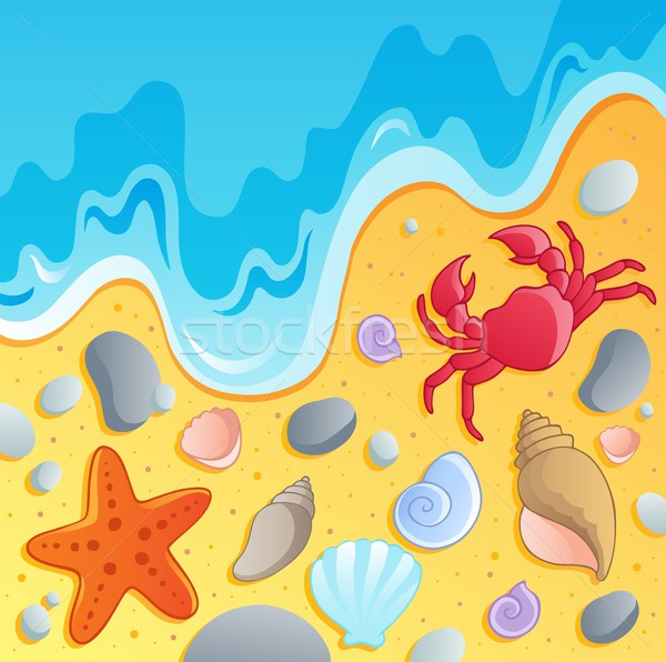 Stock photo: Beach with shells and sea animals 1
