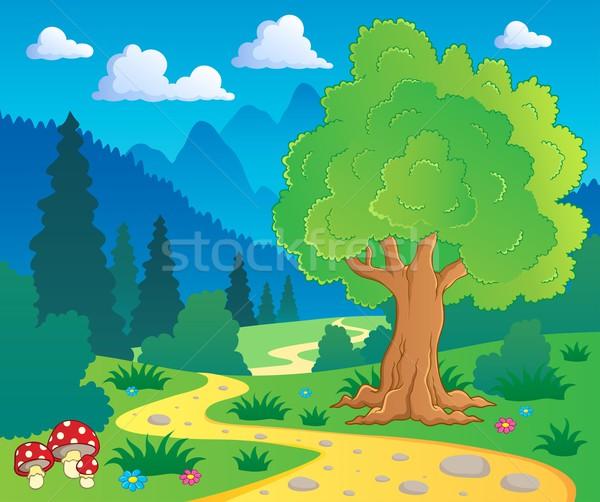 Desen · animat pădure peisaj vector natură