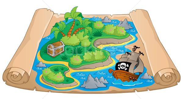 Карта сокровищ изображение бумаги дизайна Palm океана Сток-фото © clairev