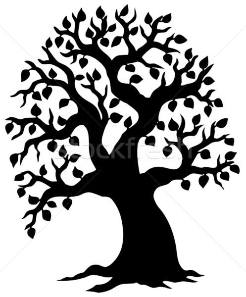 Big leafy tree silhouette Stock photo © clairev