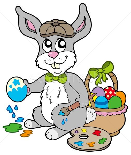 Easter Bunny Sanatçı Bahar Sanat Boyama Tavşan Vektör