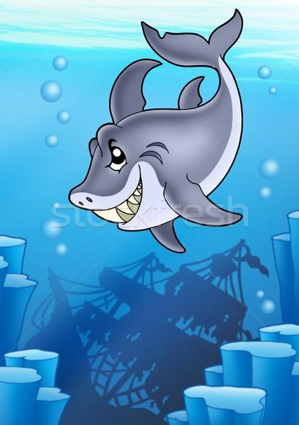 Tubarão misterioso naufrágio cor ilustração natureza Foto stock © clairev
