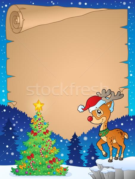 Karácsony téma pergamen boldog tél szarvas Stock fotó © clairev