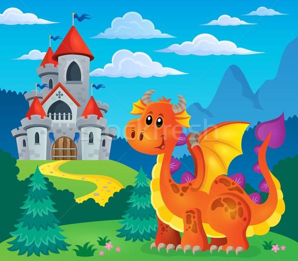 изображение счастливым дракон улыбка замок улыбаясь Сток-фото © clairev