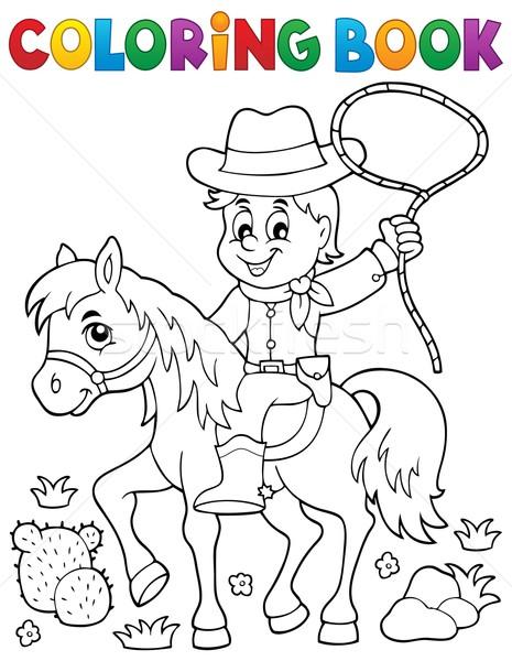 Kolorowanka cowboy konia książki farby rock Zdjęcia stock © clairev