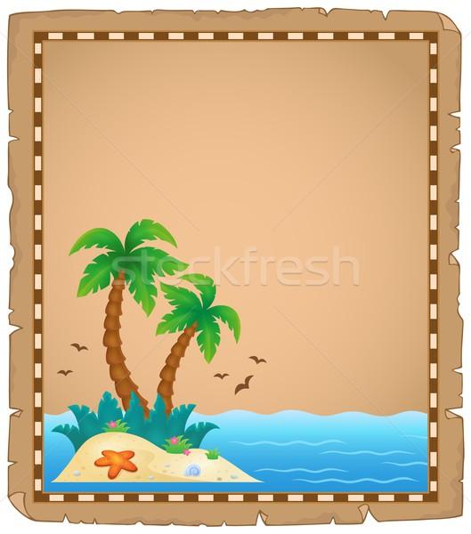 Perkament tropisch eiland natuur ontwerp kunst palm Stockfoto © clairev
