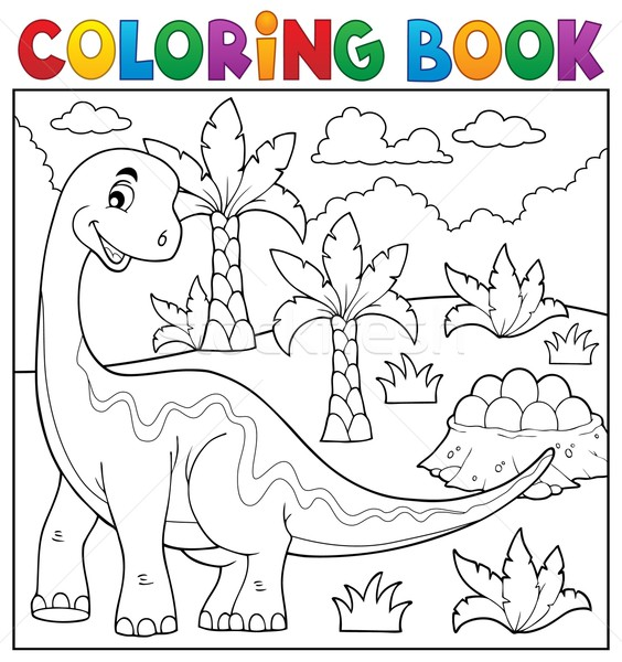 Coloring book dinosaur topic 6 Stock photo © clairev