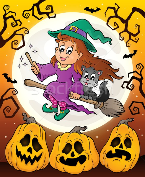 Halloween theme with cute witch and cat Stock photo © clairev