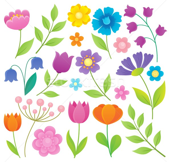 стилизованный цветы тема набор цветок природы Сток-фото © clairev