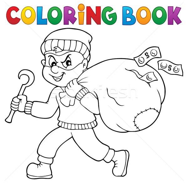 Livro para colorir ladrão saco dinheiro livro arte Foto stock © clairev